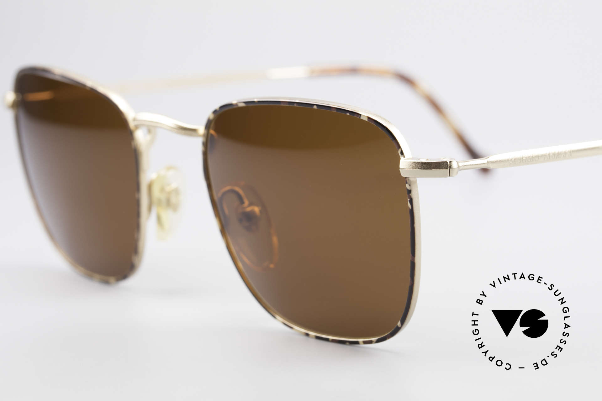 Giorgio Armani 137 Square Panto Vintage Shades, with dark brown sun lenses (for 100% UV protection), Made for Men