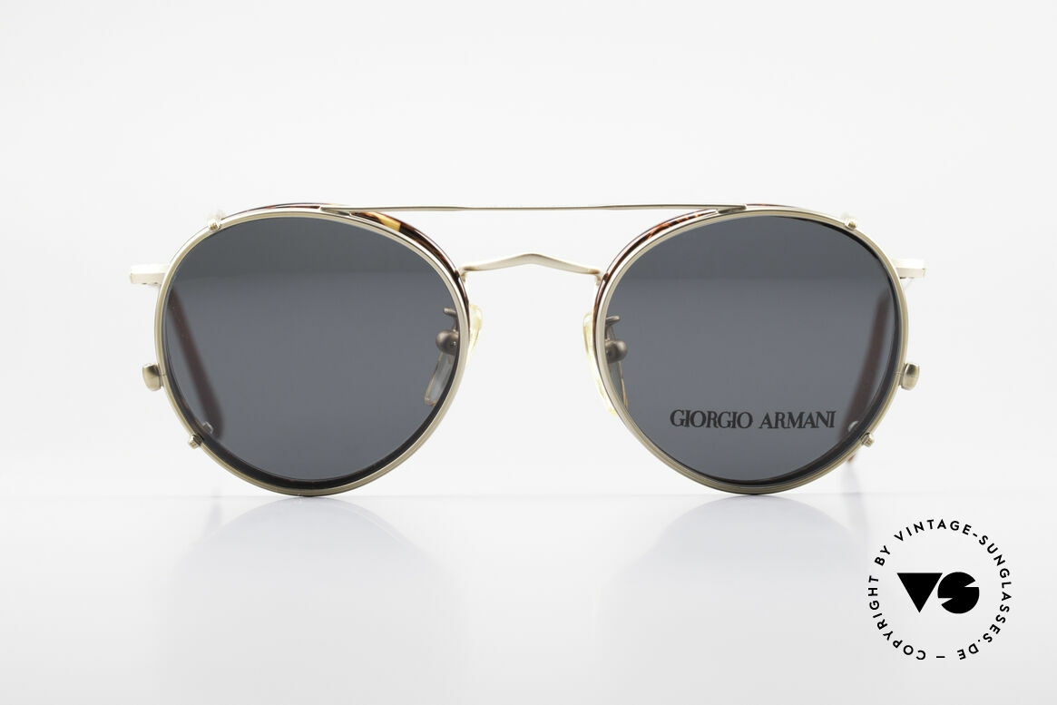 Giorgio Armani 118 Panto Frame With Sun Clip, PANTO Giorgio Armani vintage designer sunglasses, Made for Men and Women