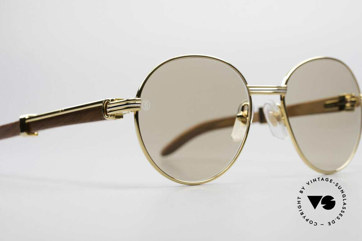 Cartier Bagatelle Bubinga Precious Wood Shades, ORIGINAL mineral sun lenses with the CARTIER logo, Made for Men and Women
