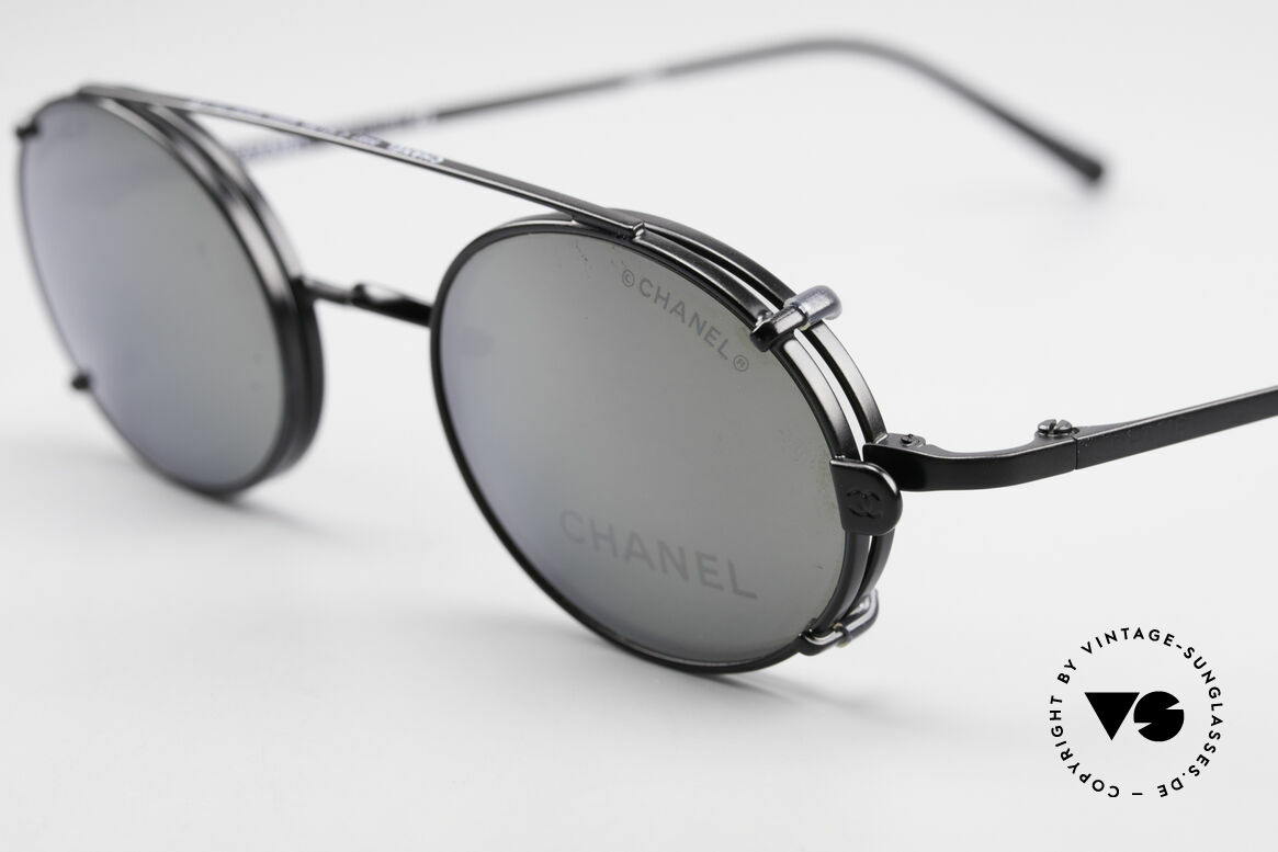 Chanel 2037 Luxury Glasses With Clip On, gray sun lenses are light mirrored; 100% UV protection, Made for Men and Women
