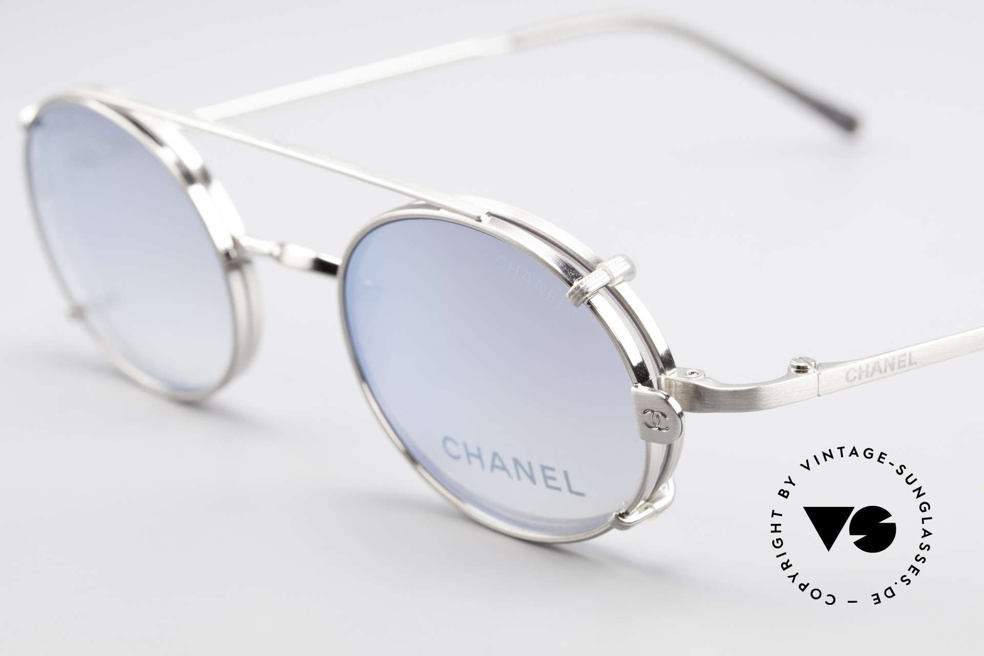 Chanel 2037 Oval Luxury Glasses Clip On, blue sun lenses are light mirrored; 100% UV protection, Made for Men and Women
