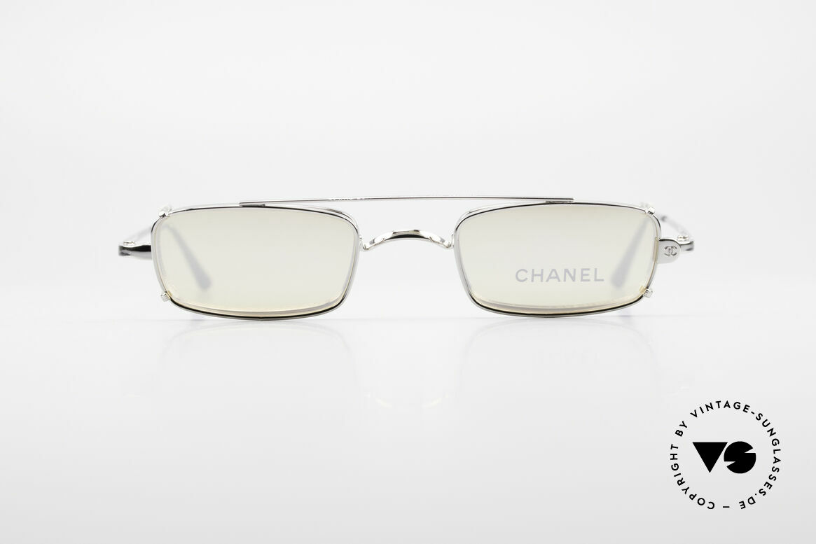 Chanel 2038 Small Luxury Glasses Clip On, square vintage frame + practical clip-on; silver finish, Made for Men and Women