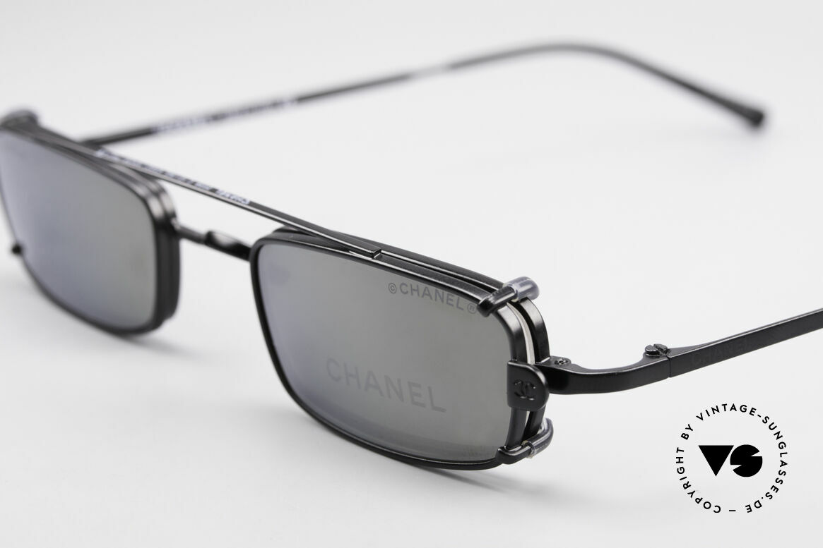 Chanel 2038 Luxury Glasses With Clip On, gray sun lenses are light mirrored; 100% UV protection, Made for Men and Women