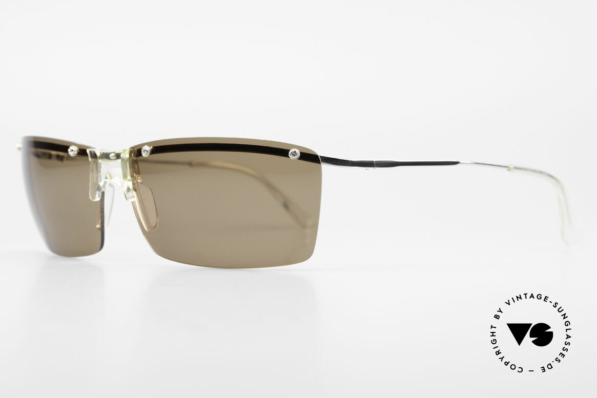 "Helmut Lang SHL51A Sporty Titanium Sunglasses, truly iconic ""Insider Sunglasses"" for all avant-gardist, Made for Men"