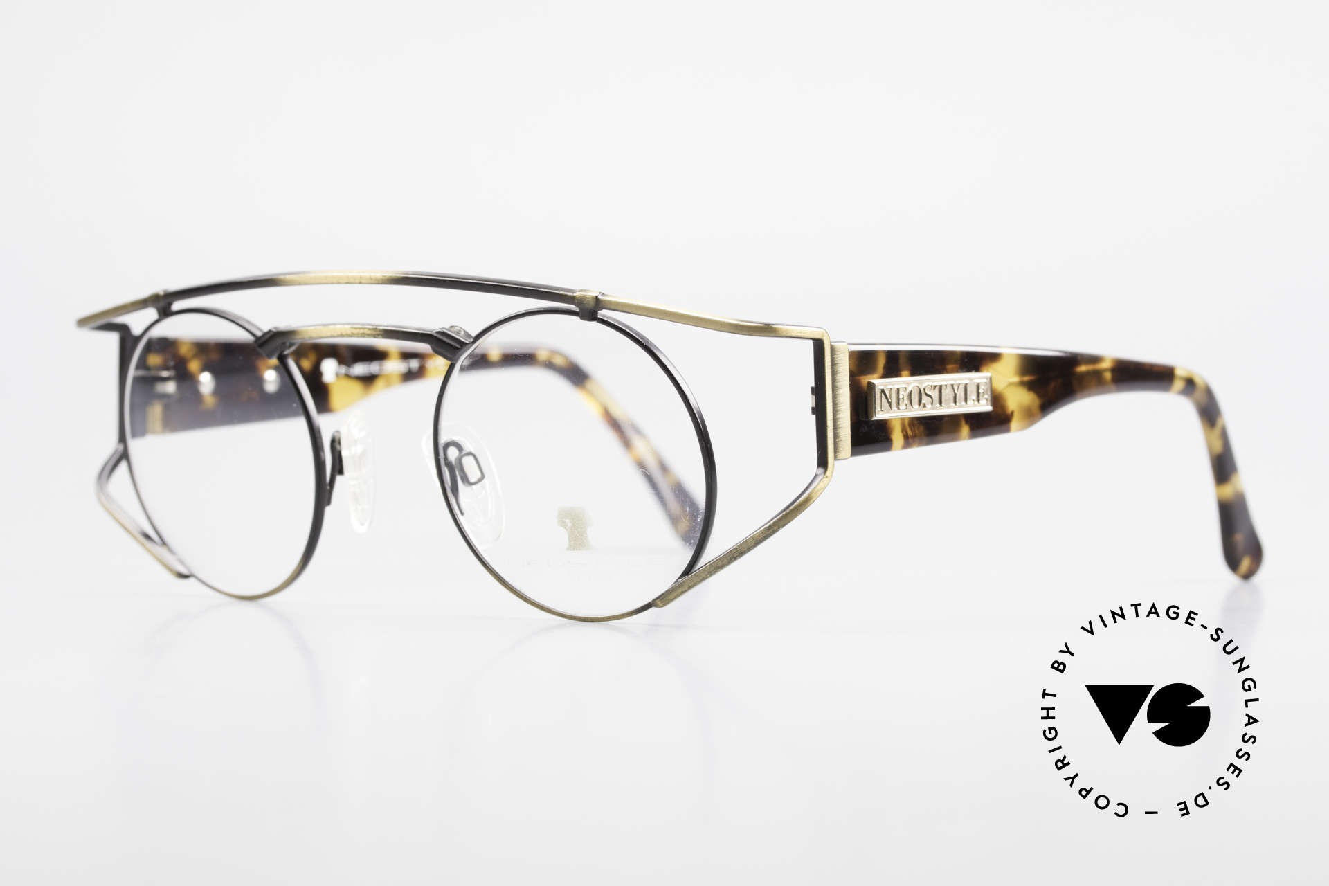 Neostyle Superstar 1 Steampunk Vintage Eyeglasses, yellow-brownish coloring in a kind of camouflage, Made for Men and Women