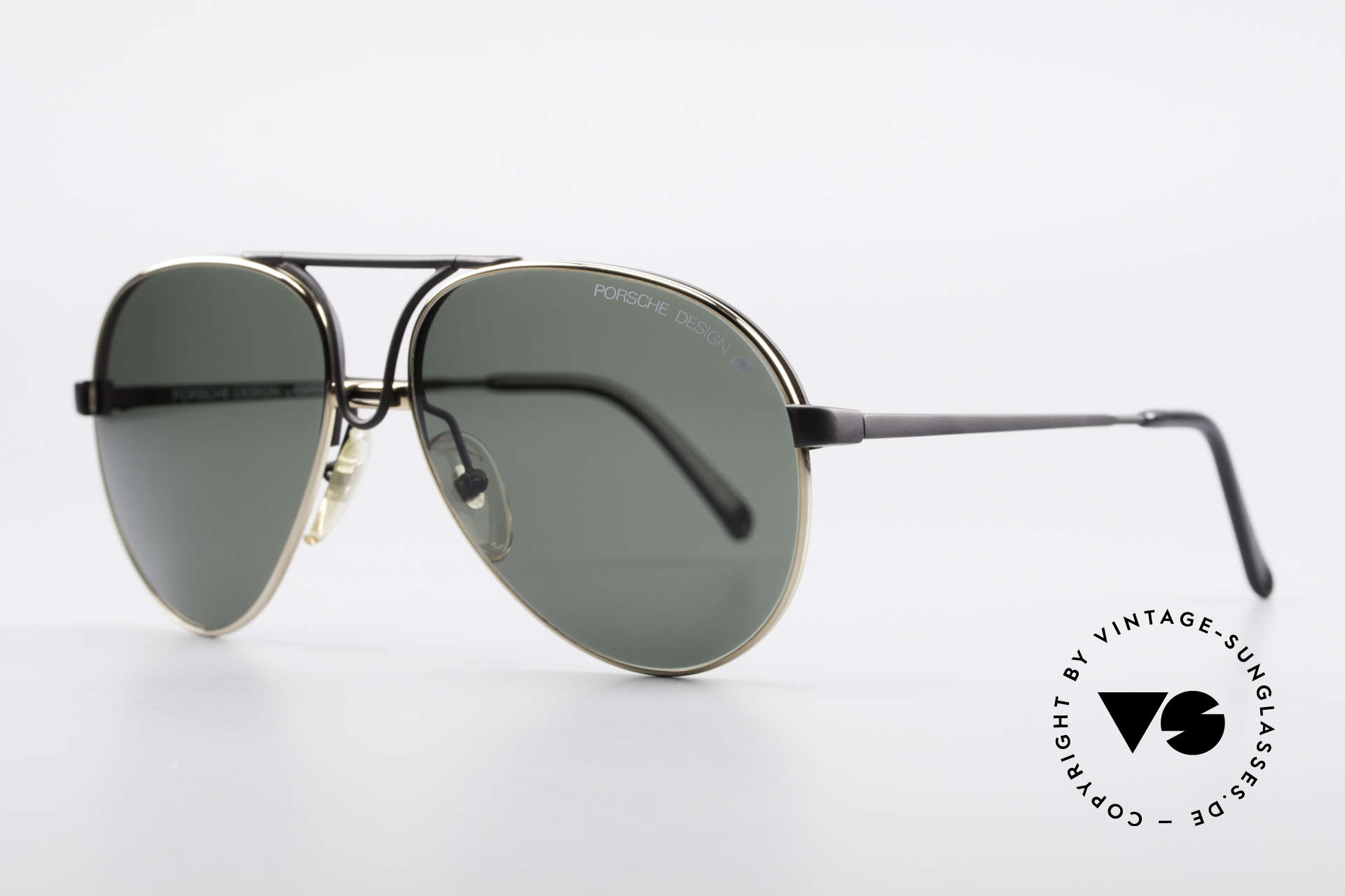 Porsche 5657 Interchangeable Frame 90's, 1 x black with demos & 1 x gold with sun lenses, Made for Men