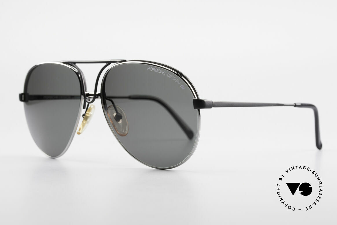 Porsche 5657 Interchangeable Sunglasses, 1 x black with demos & 1 x silver with sun lenses, Made for Men
