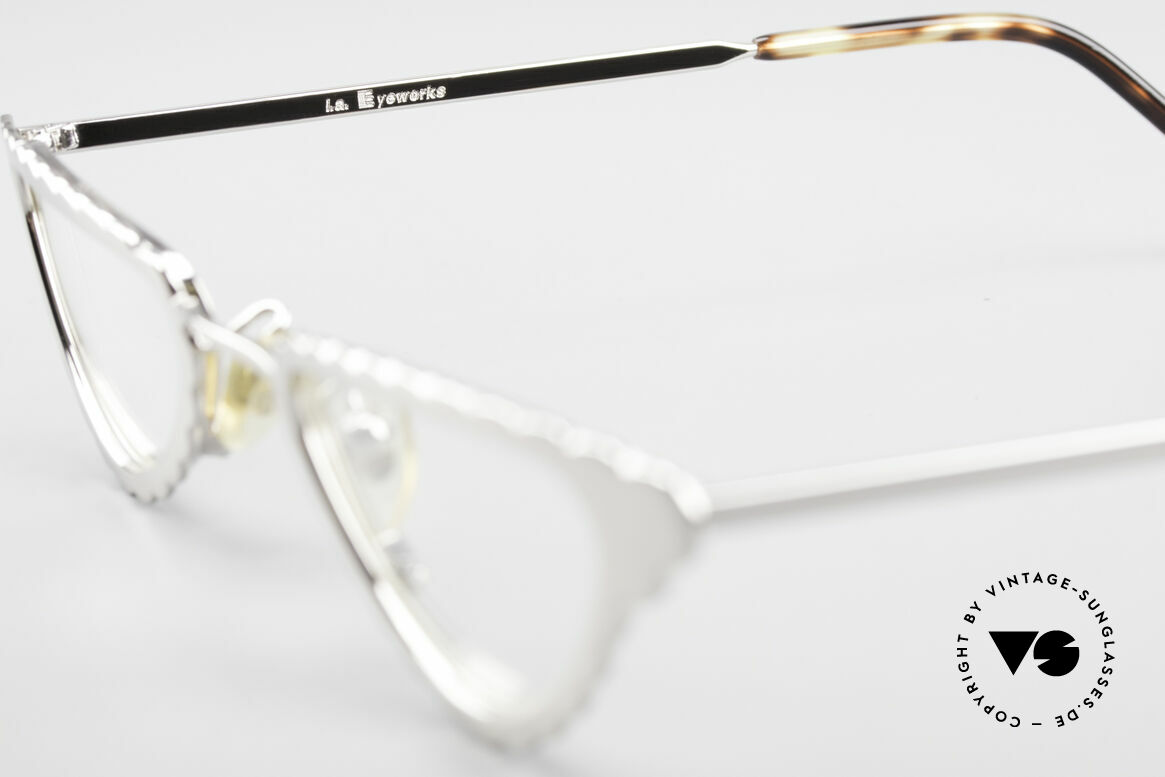L.A. Eyeworks Macaroni 405 Reading Glasses Like A Leaf, unworn (like all our VINTAGE L.A.E. reading eyeglasses), Made for Women