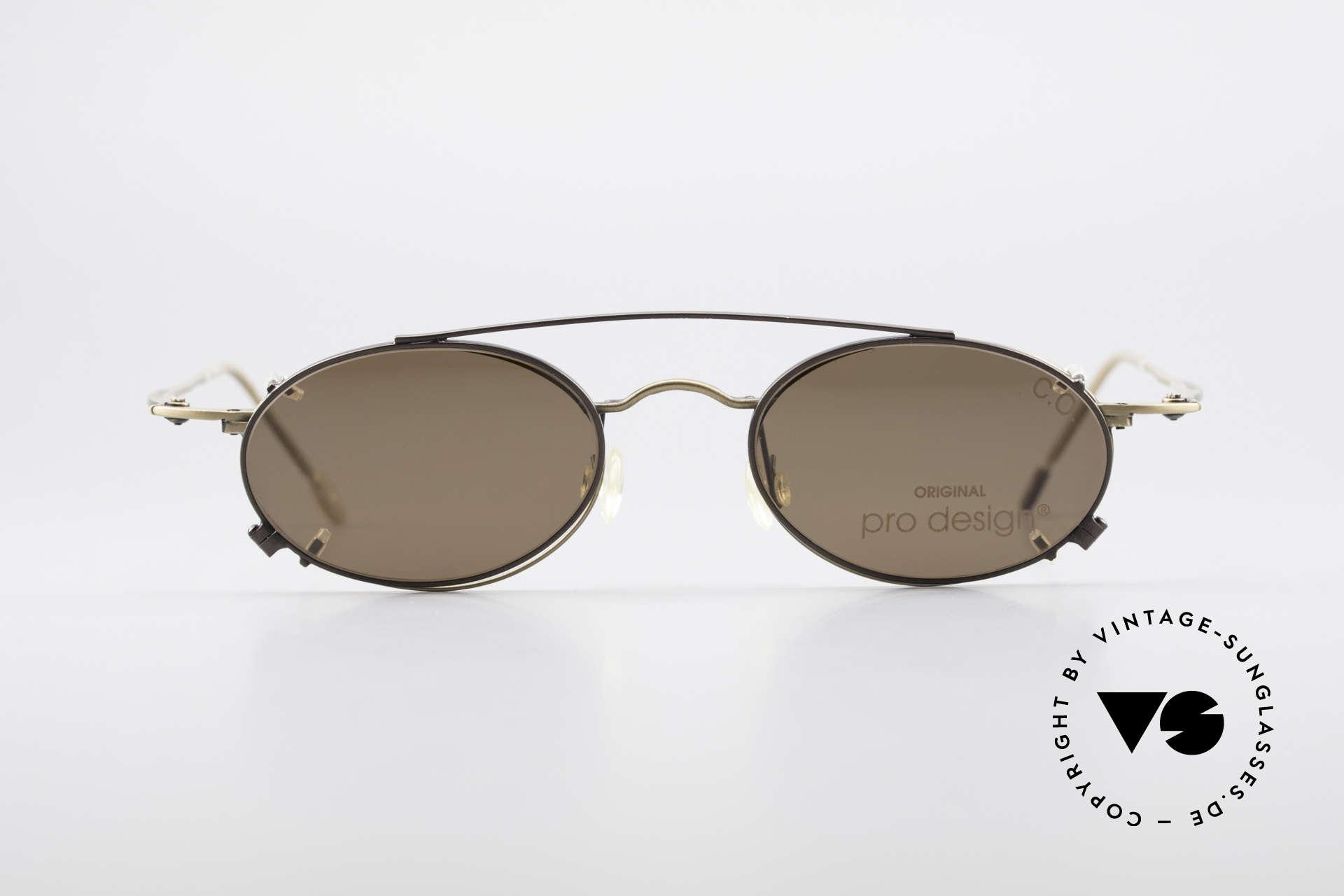 ProDesign P806 Polarized Clip On 90's Shades, stylish elegant unisex model; timeless vintage eyewear, Made for Men and Women