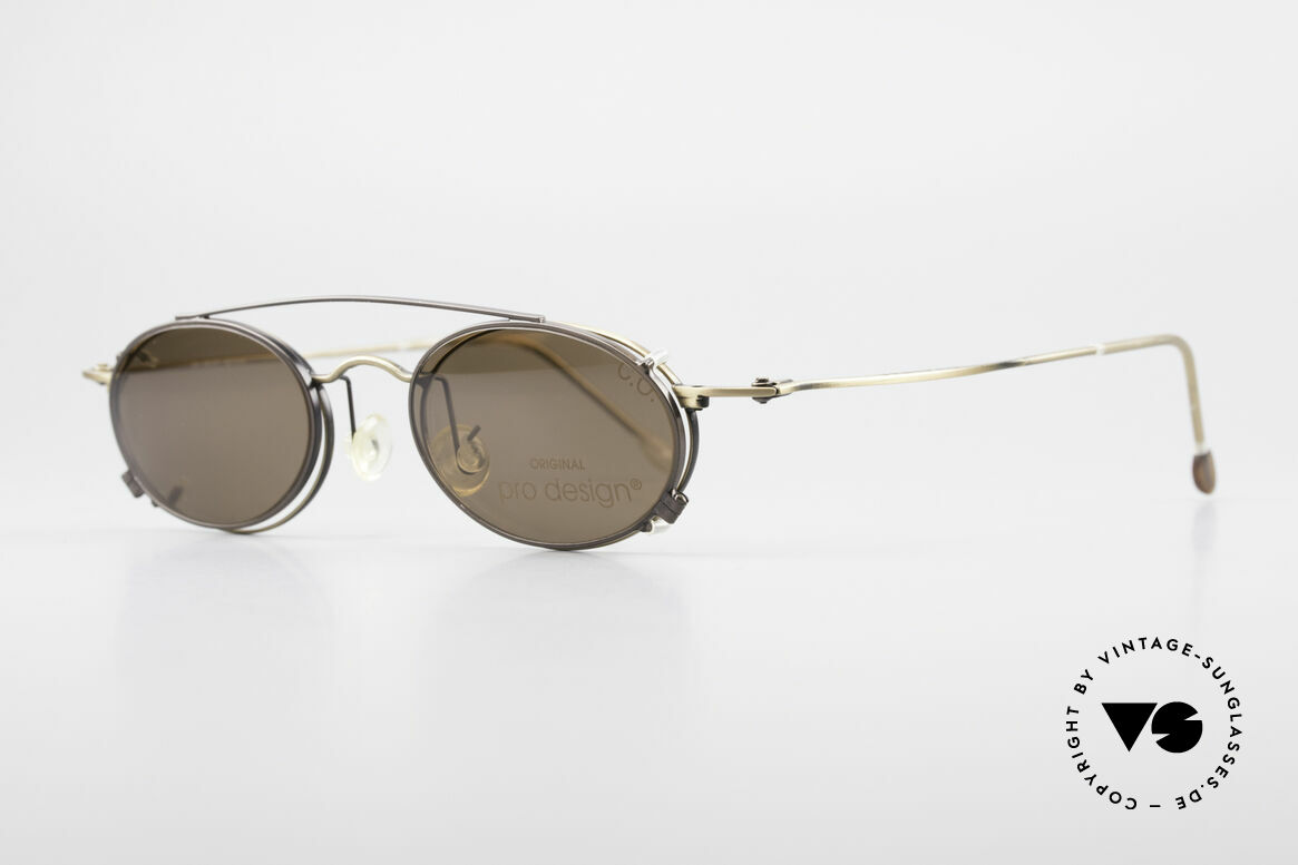 """ProDesign P806 Polarized Clip On 90's Shades, elegant frame finish in a kind of """"antique / burnt brass"""", Made for Men and Women"""