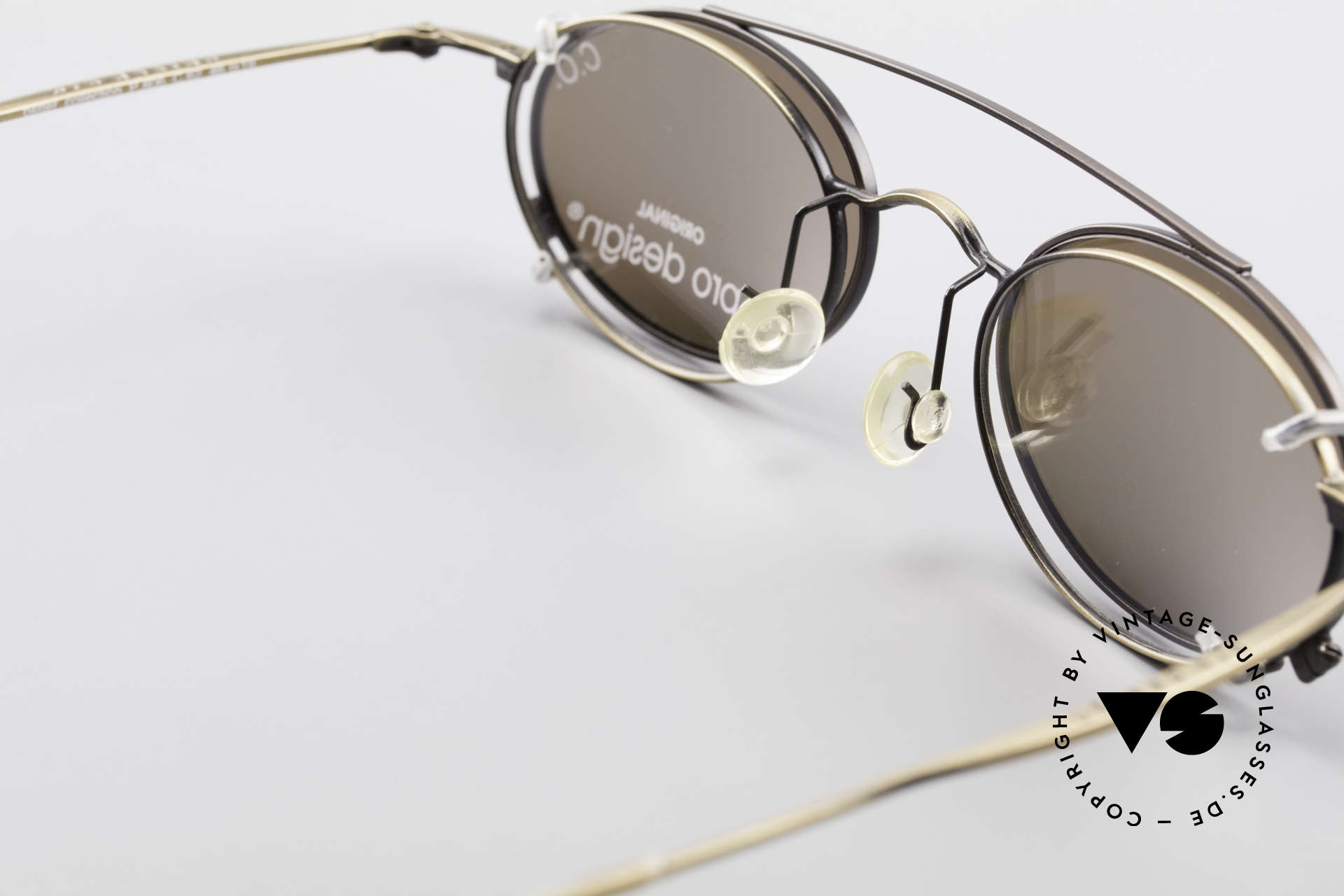 ProDesign P806 Polarized Clip On 90's Shades, unworn, new old stock; like all our rare vintage shades, Made for Men and Women