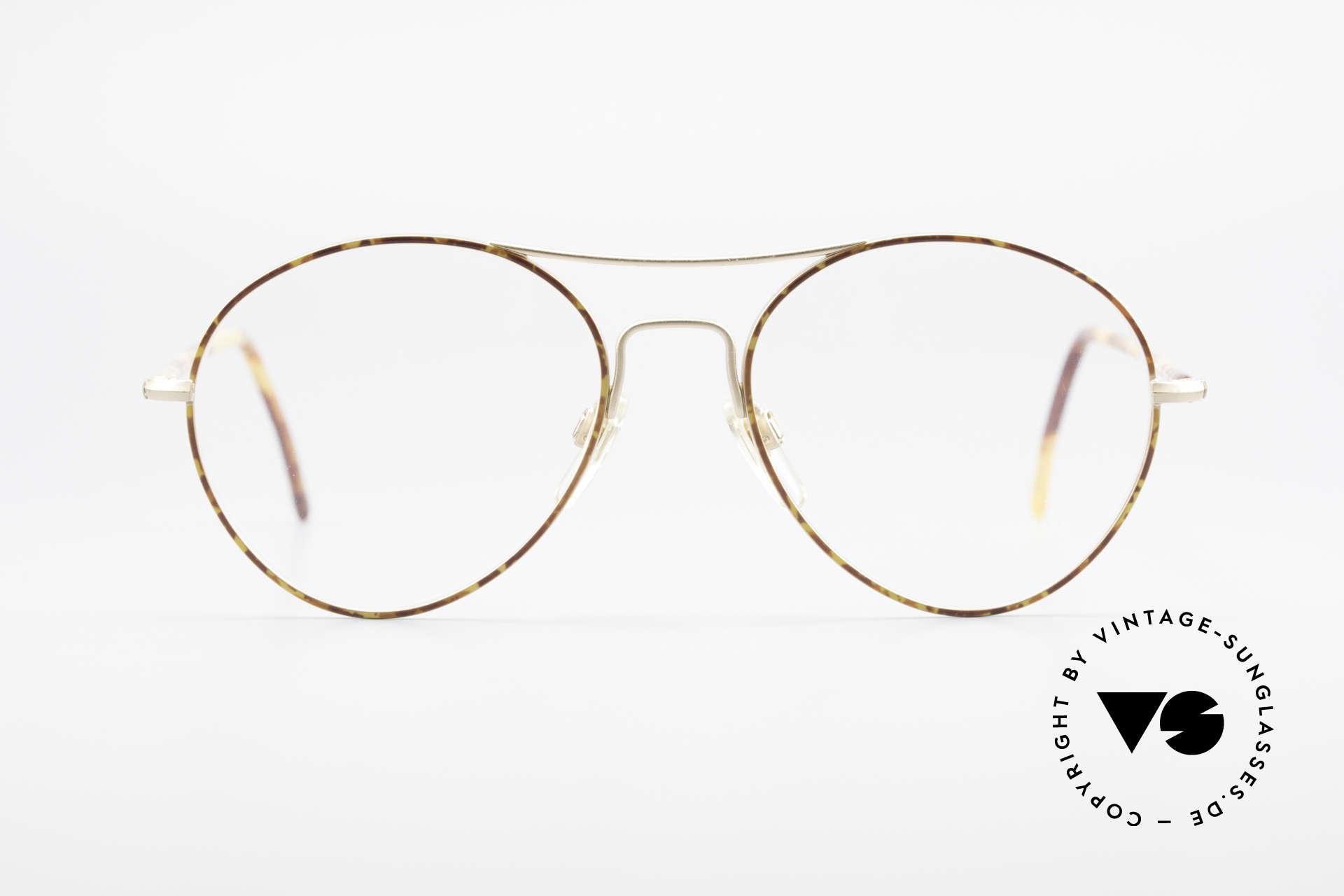 Giorgio Armani 120 Vintage Aviator Glasses Men, dull gold / chestnut framework with DEMO lenses, Made for Men