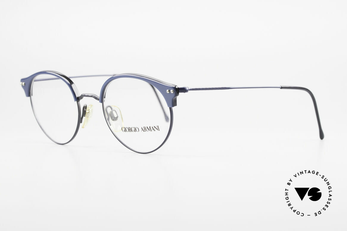 Giorgio Armani 377 90's Panto Style Eyeglasses, very interesting frame finish in deep-blue metallic, Made for Men and Women