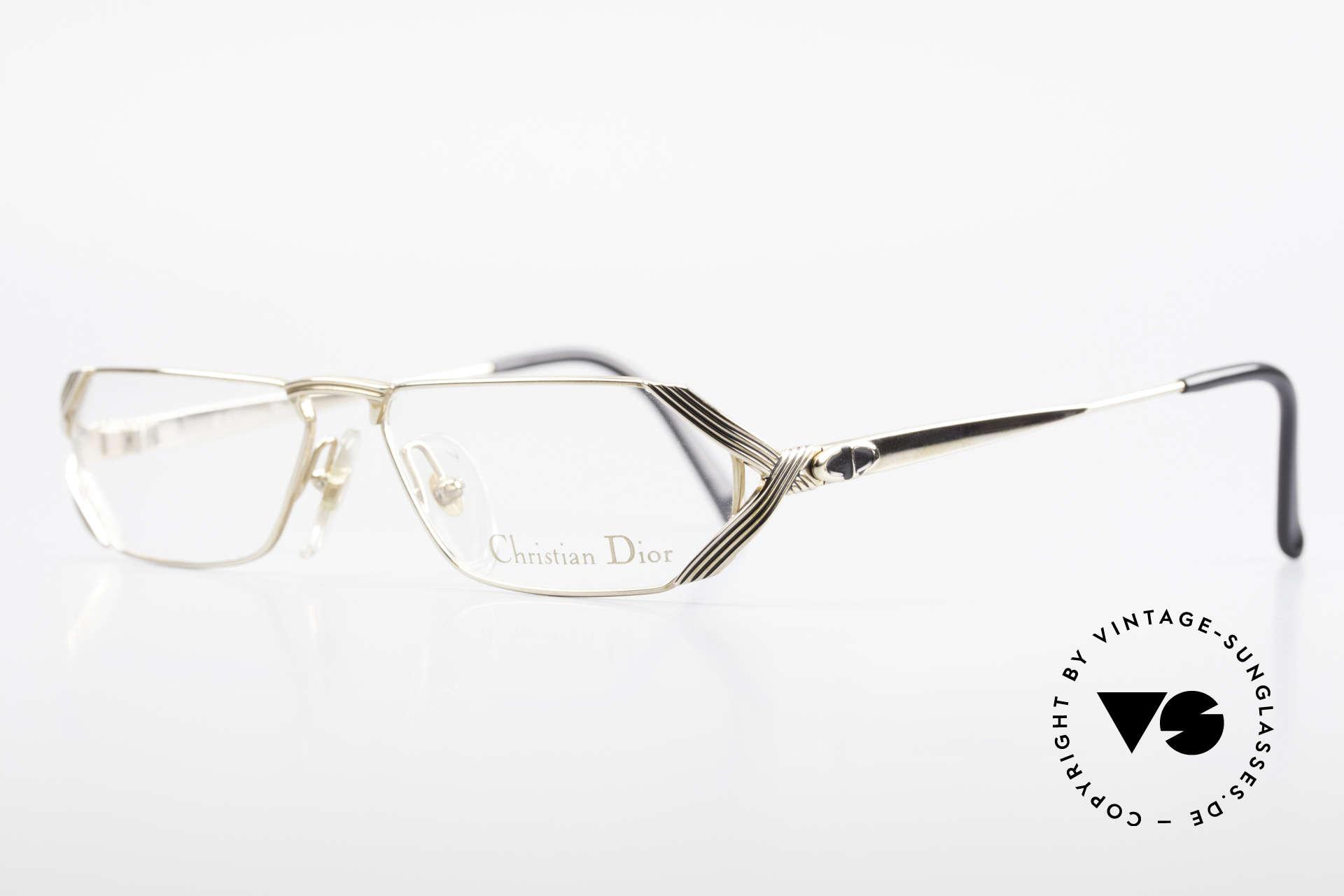 Christian Dior 2617 Rare Vintage Reading Glasses, GOLD-PLATED metal frame with subtle black stripes, Made for Men