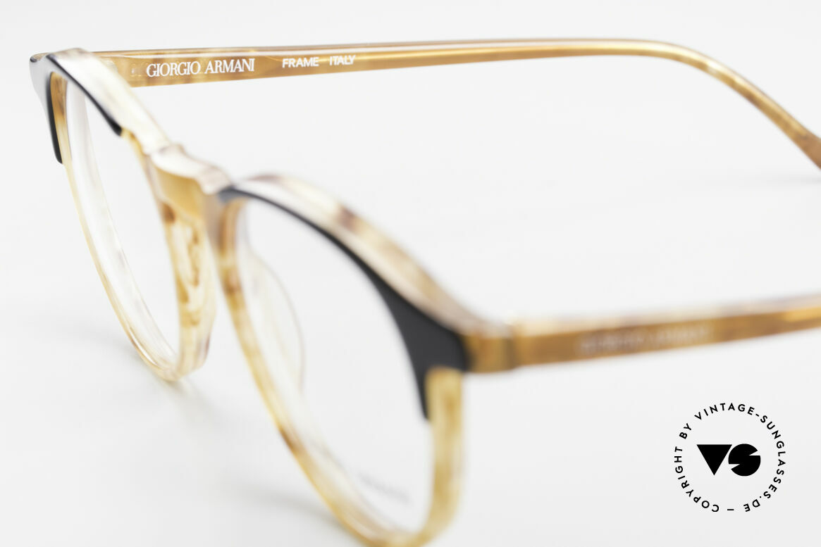 "Giorgio Armani 301 Johnny Depp Style Panto Frame, frame in ""horn optic"" with original clear DEMO lenses, Made for Men"