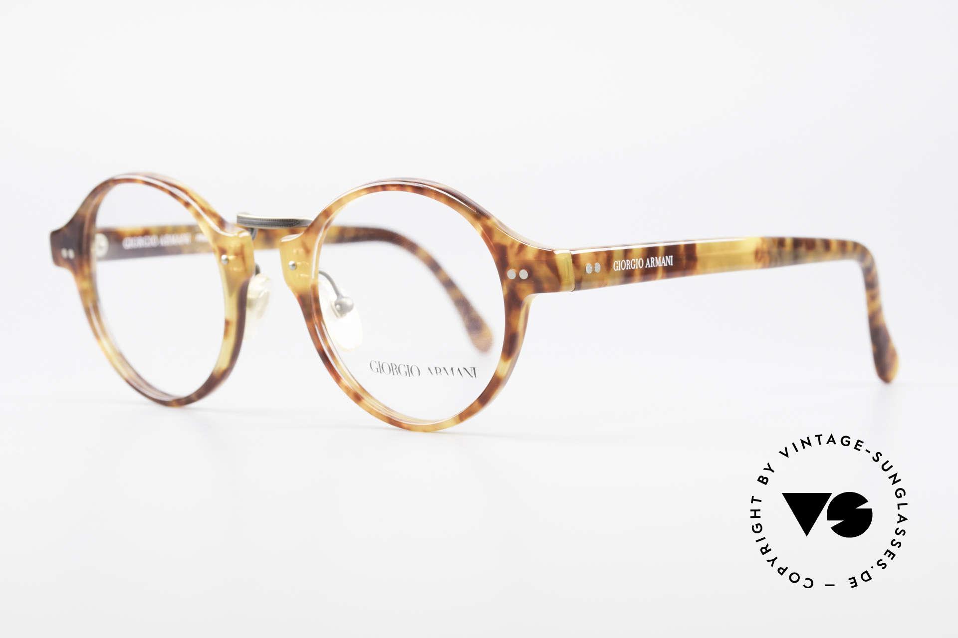 Giorgio Armani 341 Vintage Panto Eyeglass-Frame, very elegant tortoise frame texture with a brass bridge, Made for Men