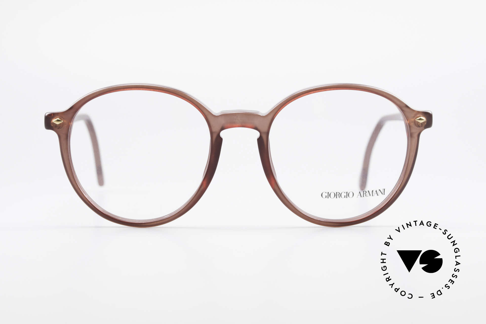 Giorgio Armani 325 Vintage Panto 90's Eyeglasses, PANTO frame design with classic translucent brown, Made for Men