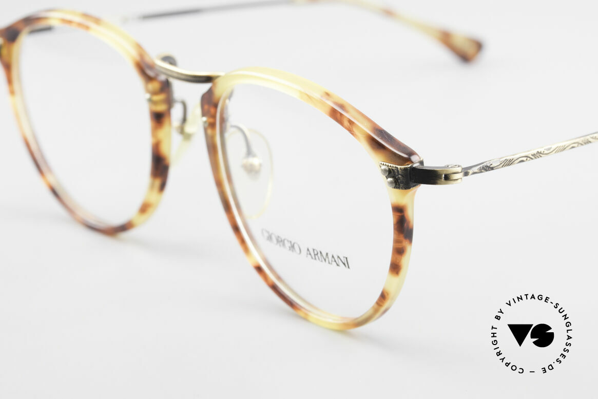 Giorgio Armani 318 Vintage 90's Panto Glasses, amber / tortoise front & costly formed brass temples, Made for Men