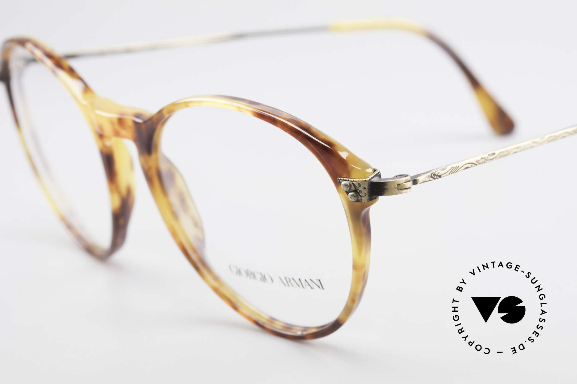 Giorgio Armani 329 90's Panto Glasses Medium, amber / tortoise front & costly formed brass temples, Made for Men
