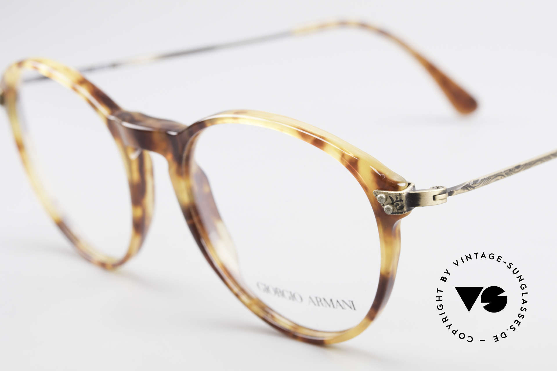 Giorgio Armani 329 Small 90's Panto Eyeglasses, amber / tortoise front & costly formed brass temples, Made for Men