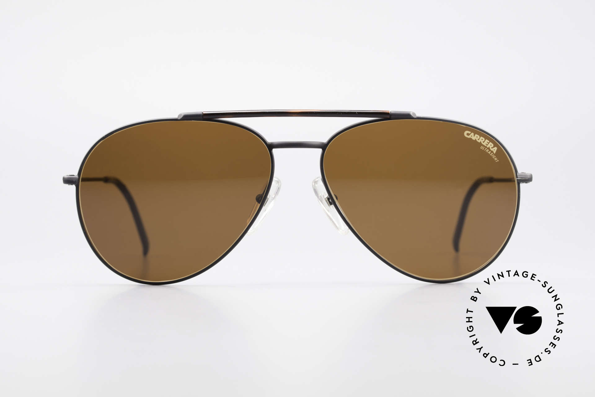 Carrera 5349 True Vintage Aviator Shades, dull black frame with a tortoise colored brow bar, Made for Men