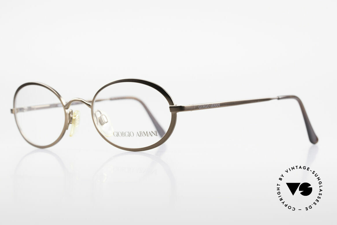 Giorgio Armani 277 90's Rare Vintage Frame Oval, bronze-brown frame finish & flexible spring hinges, Made for Men and Women