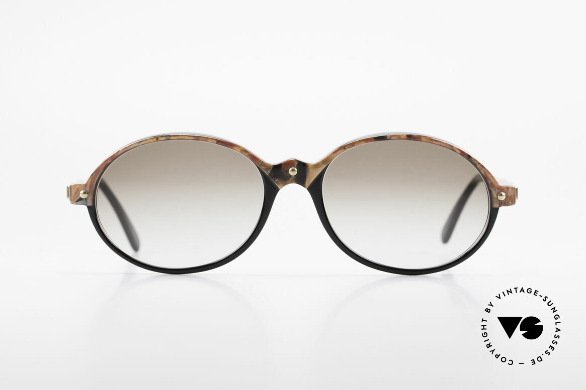 Cazal 328 Oval Vintage Sunglasses 90's, discreet colored (black / brown-marble / gold), Made for Women