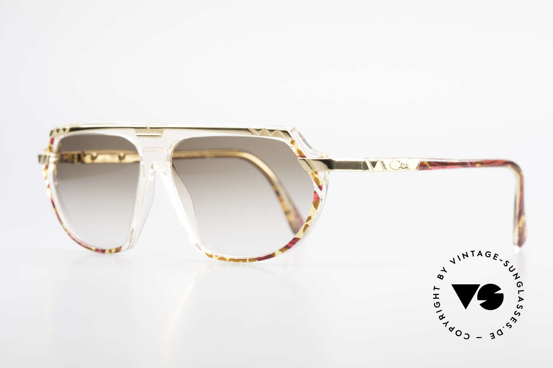 Cazal 344 Old School Crystal Sunglasses, decorated with colors, pattern and small appliqué, Made for Women