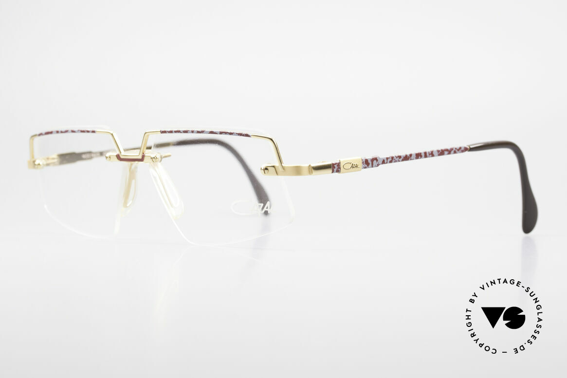 Cazal 742 Vintage Cazal Frame Rimless, great finish: gold / gray-ruby colored patterned, Made for Men