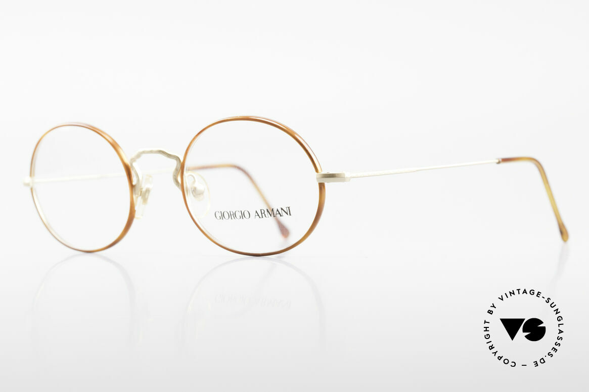 Giorgio Armani 247 90's Oval Eyeglasses No Retro, frame with subtle engravings & light tortoise rings, Made for Men and Women