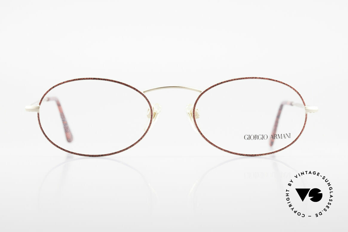 Giorgio Armani 125 Oval 80's Vintage Glasses, discreet oval metal frame with brilliant red finish, Made for Women