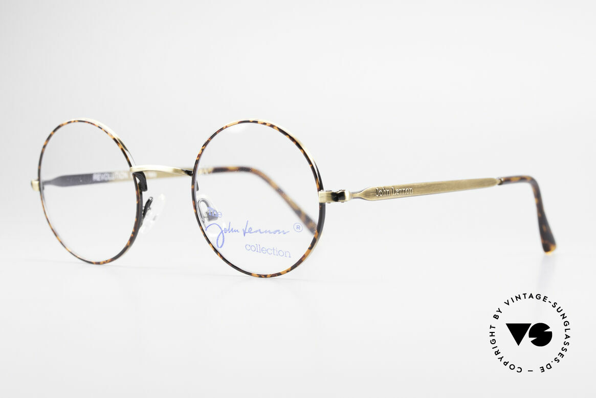 John Lennon - Revolution Small Round Vintage Glasses, small round glasses; antique gold/chestnut brown, Made for Men and Women