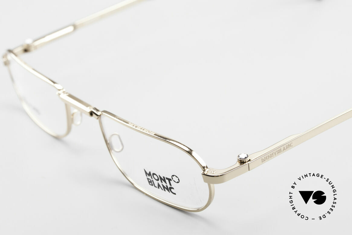 Montblanc MB30 Folding Gold Plated Luxury Eyeglasses, unworn rarity (incl. an extra folding case by Safilo), Made for Men
