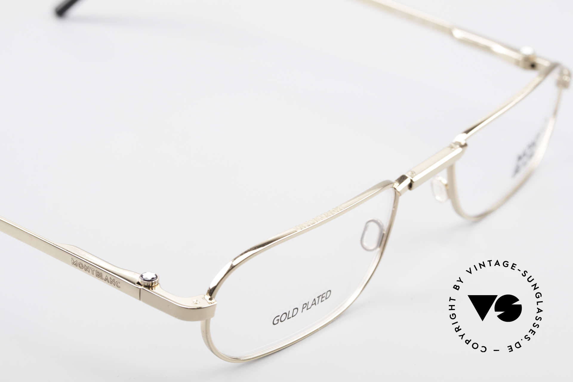Montblanc MB30 Folding Gold Plated Luxury Eyeglasses, frame can be glazed with optical lenses / sun lenses, Made for Men