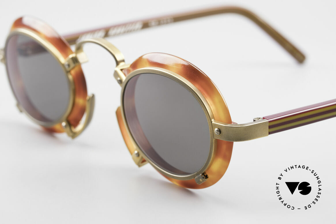 Jean Paul Gaultier 58-1273 Designer Sunglasses JPG 90's, extraordinary frame bridge and fancy nose pad, Made for Men and Women