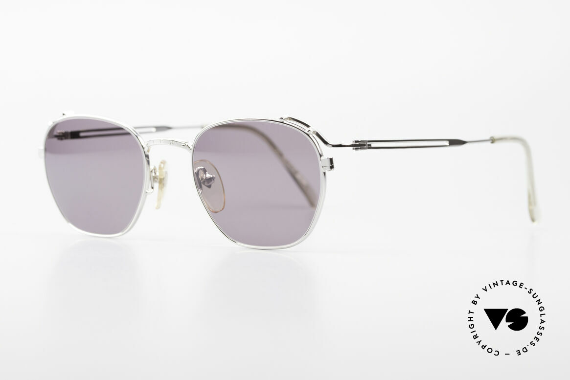 Jean Paul Gaultier 55-3173 Rare 90's Designer Sunglasses, silver frame with gray lenses, 100% UV protect., Made for Men and Women