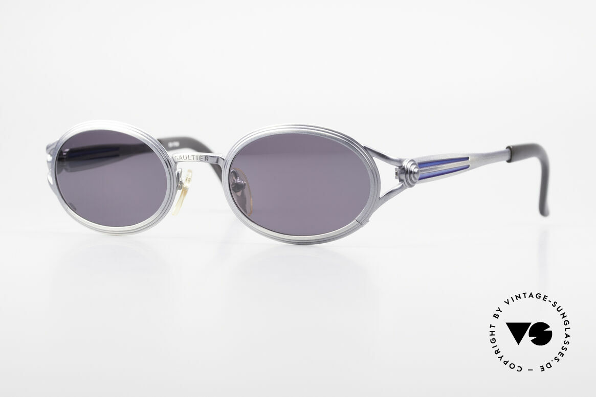 Jean Paul Gaultier 56-7114 Oval Steampunk JPG Glasses, vintage Gaultier designer sunglasses of the mid 90's, Made for Men and Women