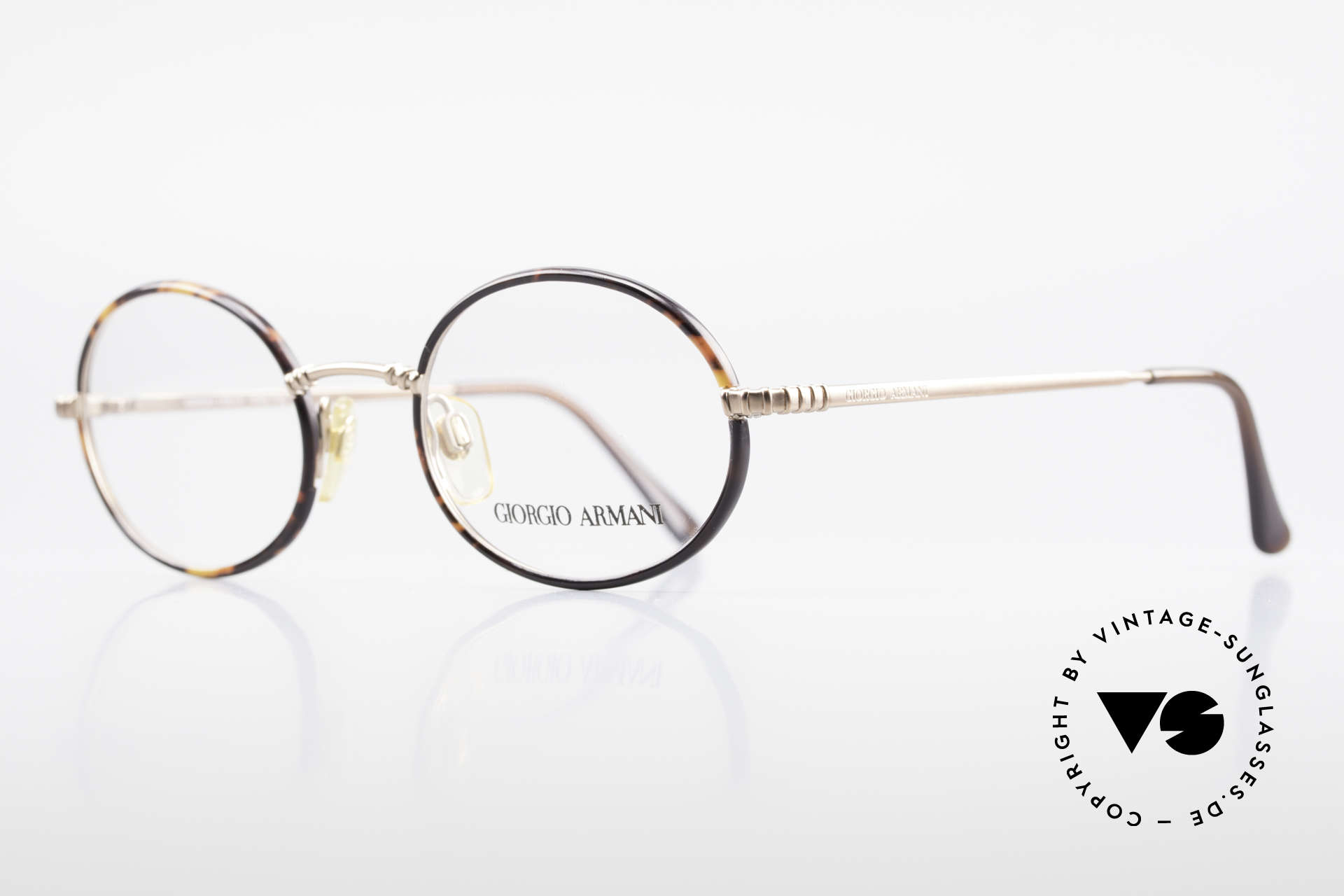 Giorgio Armani 223 Oval Vintage 90's Eyeglasses, copper finished frame + chestnut-brown windsor rings, Made for Men and Women