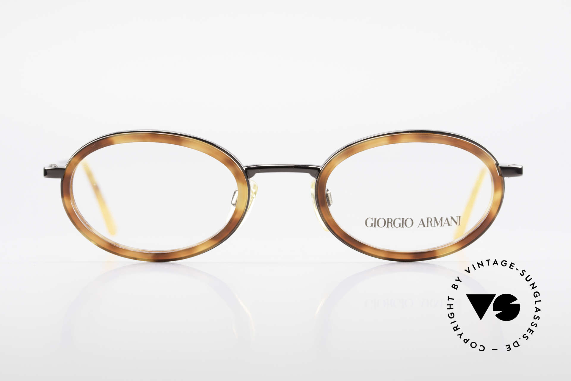 Giorgio Armani 258 90's Oval Vintage Eyeglasses, classic OVAL metal frame with flexible spring hinges, Made for Men and Women