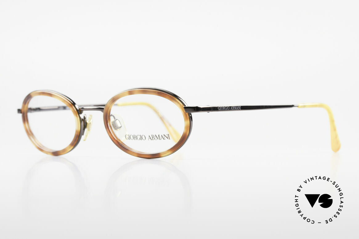 Giorgio Armani 258 90's Oval Vintage Eyeglasses, premium craftsmanship & taupe-metallic frame finish, Made for Men and Women