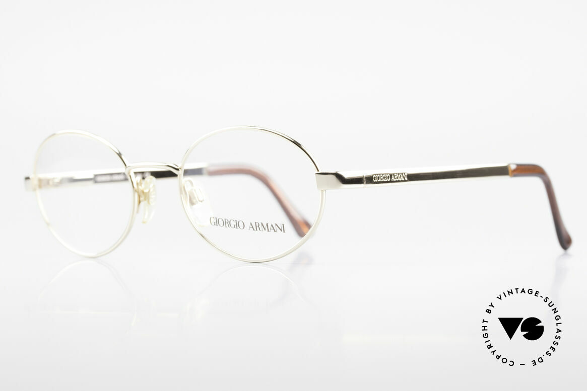 Giorgio Armani 257 Designer Vintage Frame Oval, GOLD-PLATED frame with flexible spring hinges, Made for Men and Women