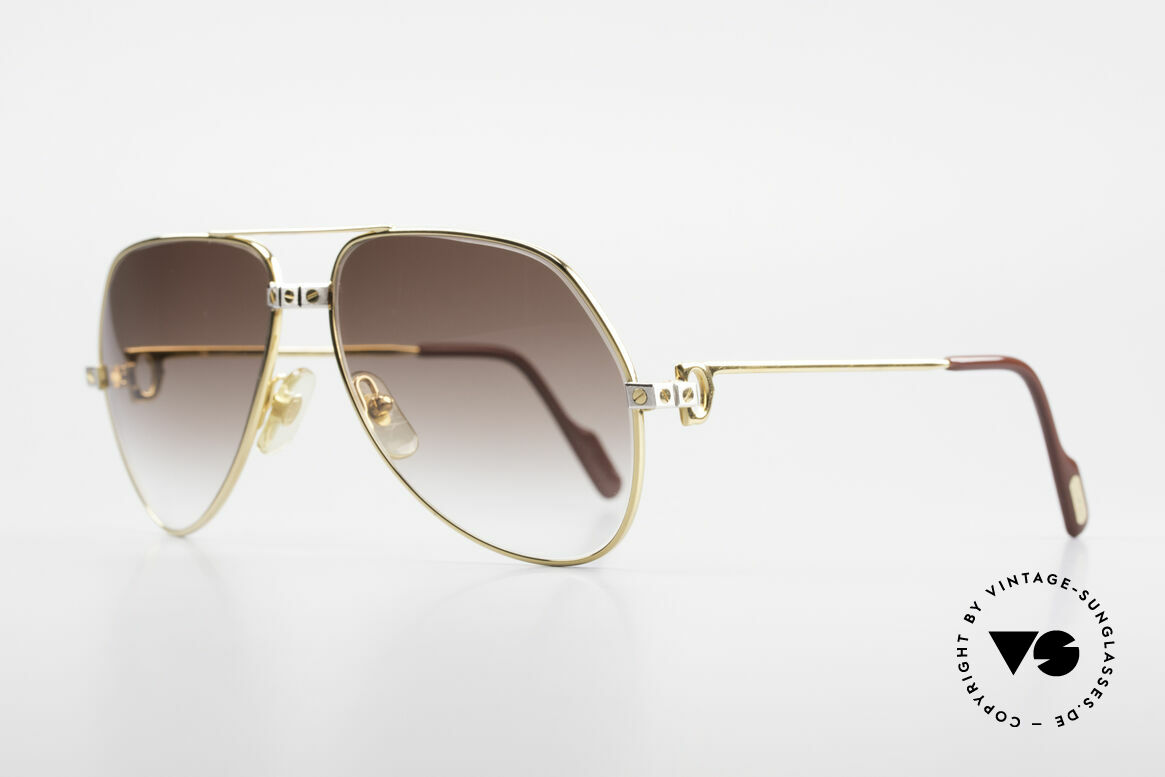 Cartier Vendome Santos - M Luxury 80's Aviator Shades, Santos Decor (with 3 screws): MEDIUM size 59-14, 130, Made for Men and Women