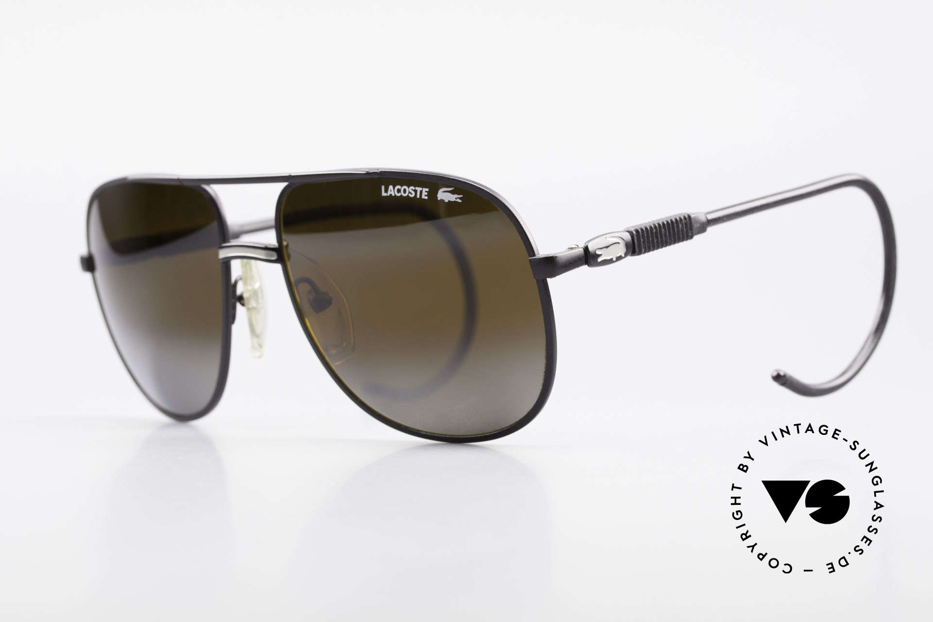"Lacoste 101S Sporty Aviator Sunglasses XL, this pair is the 80's ""S"" version (flexible sport temples), Made for Men"
