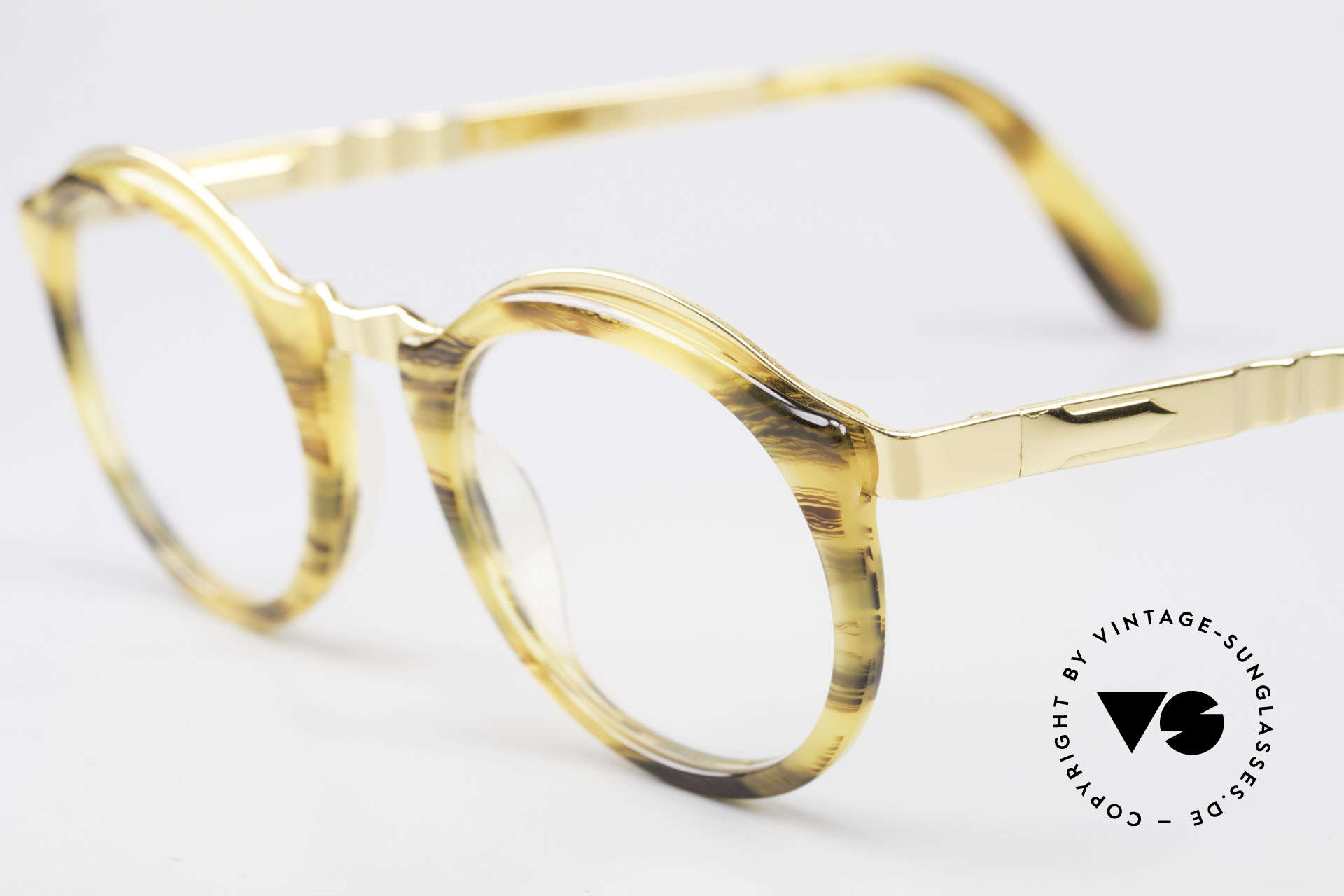 Persol Ivy Gold Plated Panto Glasses, 18kt GOLD-PLATED metal frame, S size 45-20, Made for Men and Women