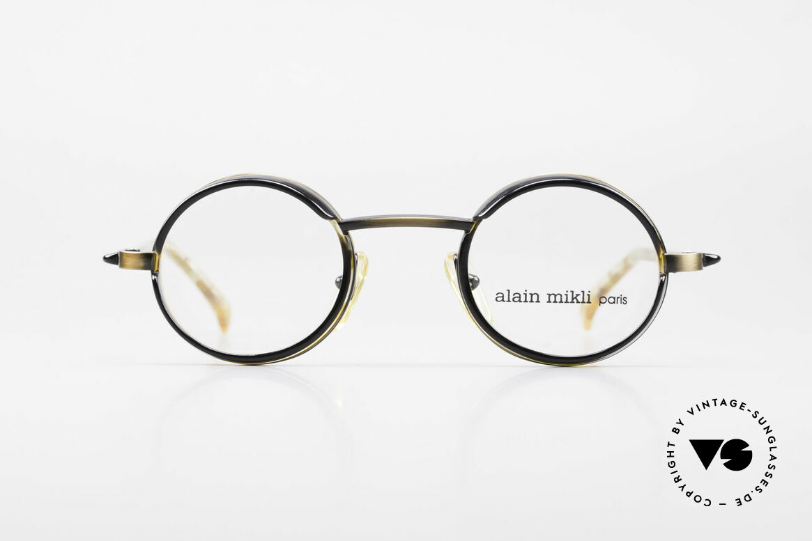 Alain Mikli 2150 / 38025 Round Vintage Designer Frame, costly combination of materials & complex coloration, Made for Men and Women