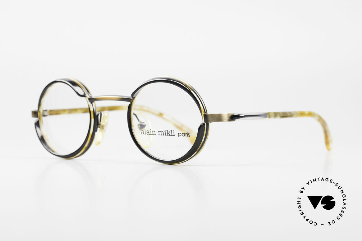 Alain Mikli 2150 / 38025 Round Vintage Designer Frame, with small black sun shields (blinds) around the lenses, Made for Men and Women