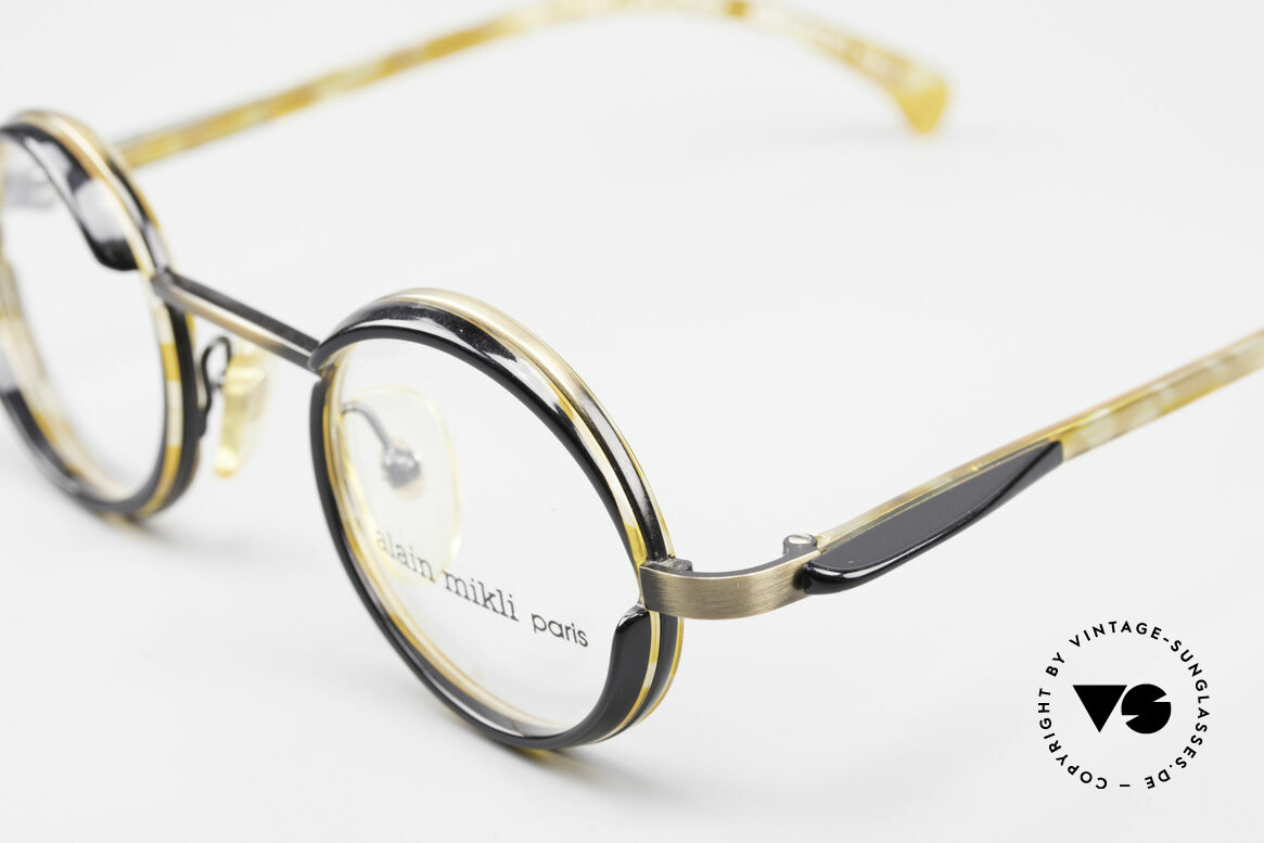 Alain Mikli 2150 / 38025 Round Vintage Designer Frame, just fancy & chic; great coloring: brass / honey / black, Made for Men and Women