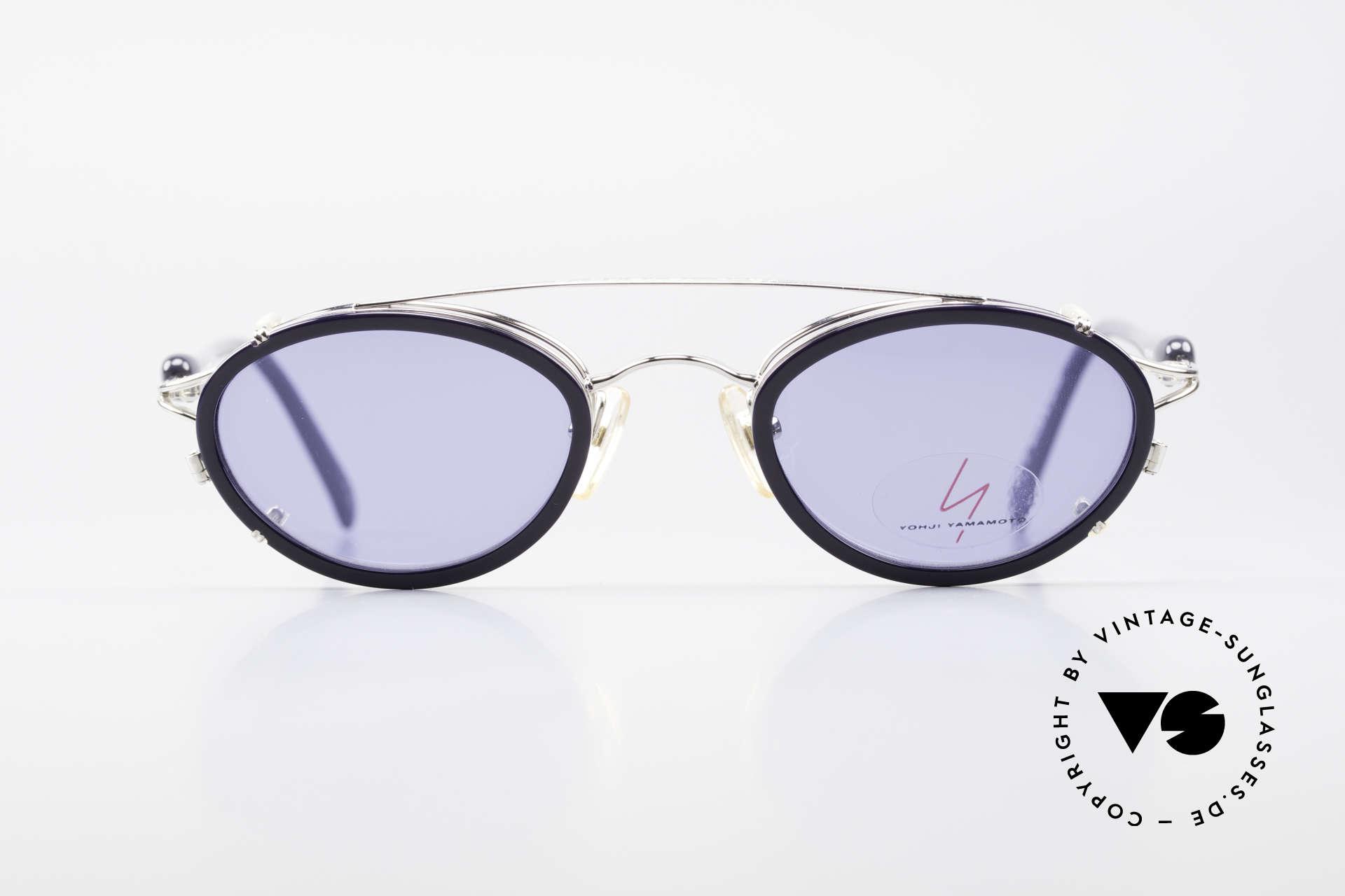 Yohji Yamamoto 51-7210 Clip-On 90's No Retro Shades, designer eyeglasses with practical sun clip; 100% UV, Made for Men and Women