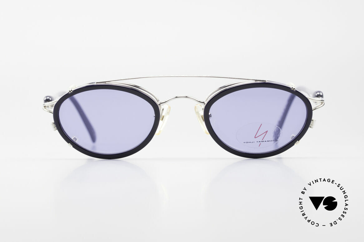 Yohji Yamamoto 51-7210 Clip-On 90's No Retro Shades, designer eyeglasses with practical sun clip; 100% UV, Made for Men and Women