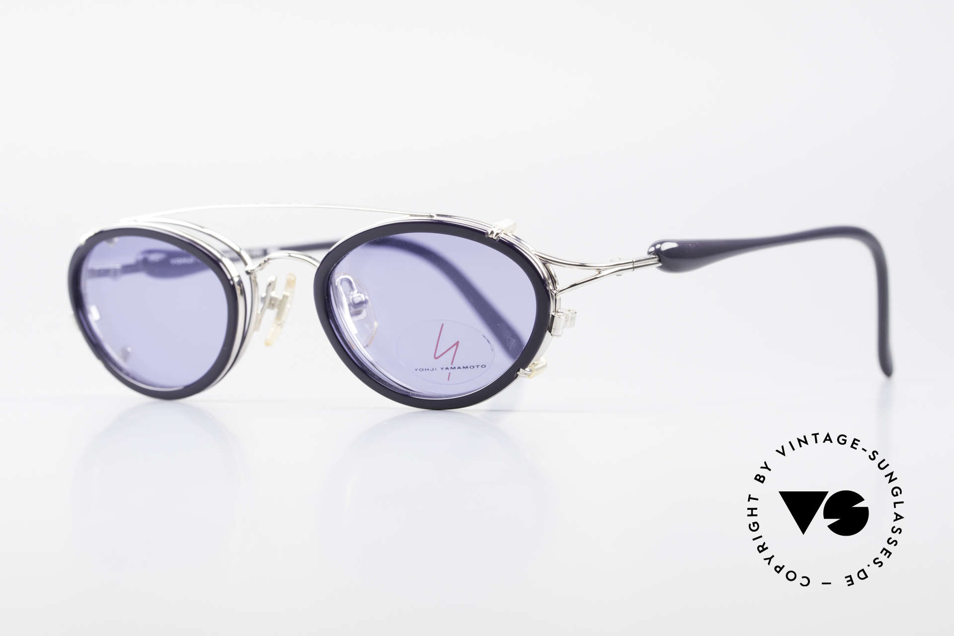 Yohji Yamamoto 51-7210 Clip-On 90's No Retro Shades, fantastic frame finish (deep-blue and silver-chrome), Made for Men and Women